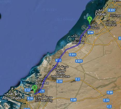 Kaart-Dubai-AbuDhabi